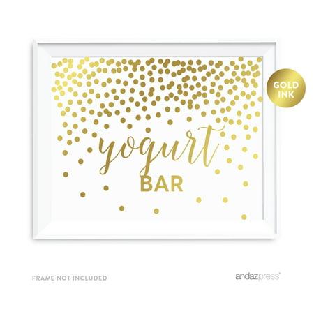 Metallic Gold Confetti Polka Dots 8.5x11-inch Party Sign, Yogurt Bar Reception Dessert Table Sign, (Dots Dessert)