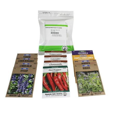 Medicinal Herb Seed Assortment - Healing Herb Seeds - Valerian, Cayenne, Yarrow, Chamomile, Burdock, More ()