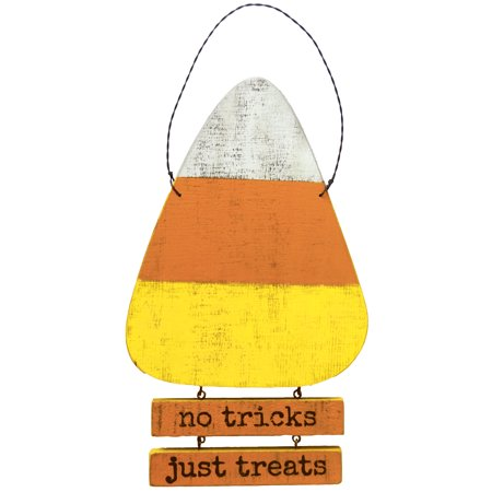 Halloween No Trick Or Treaters Sign (PBK Halloween Decor - No Tricks Just Treats Candy Corn)