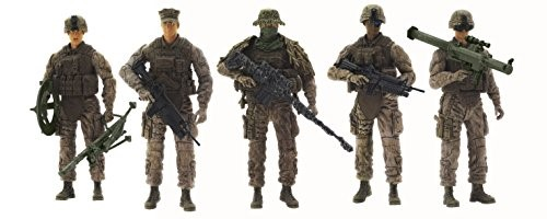 Action Figures 1:18 Scale Elite Force Marine Force Recon 5 Pack Set Toy.