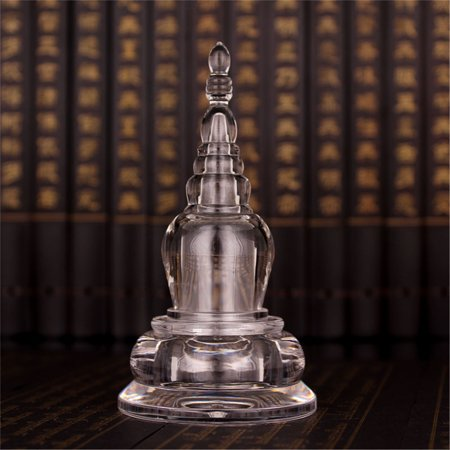 4.3'' Acrylic Clear Buddha Tibet Tibetan Buddhist Mikky Crystal Stupa Tower Nectar Pills (Clear Instant Nectar)