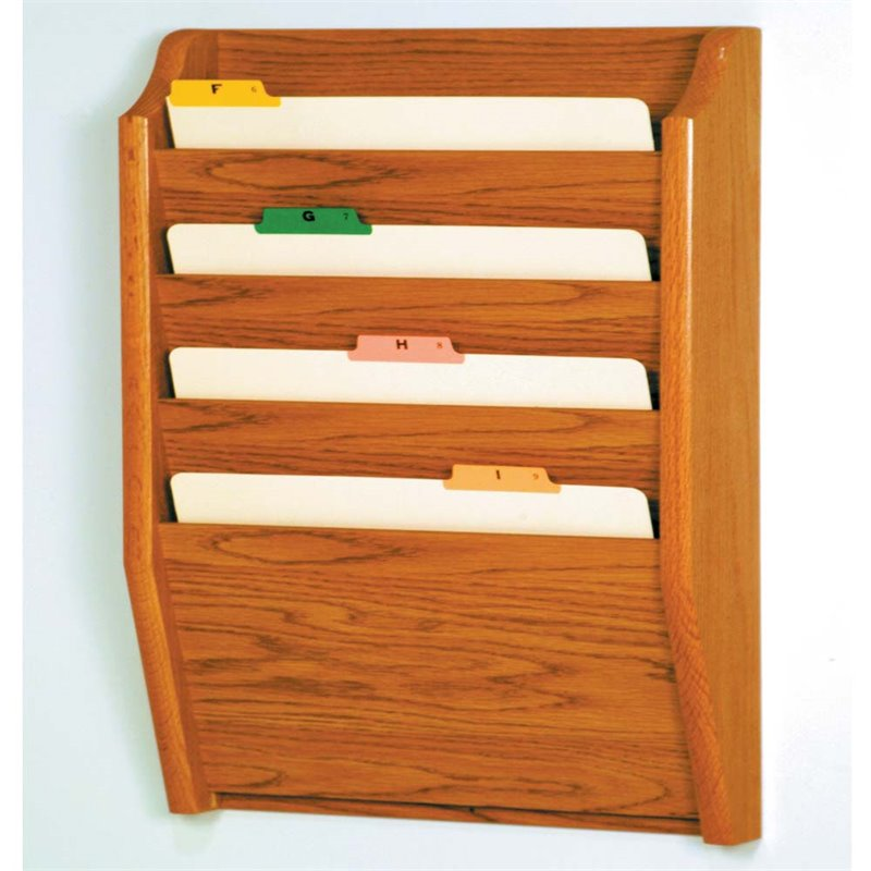 Scranton & Co 4 Pocket Legal Size Wall File Holder in Medium Oak