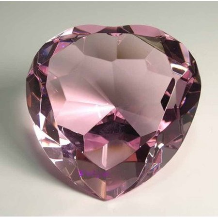 Optical Crystal Diamond Paperweight - Diamond Jewel Paperweight 100mm Pink Heart Shaped Cut, Size: 100 mm (diameter) x 55 mm (height) By Onlinez Trading
