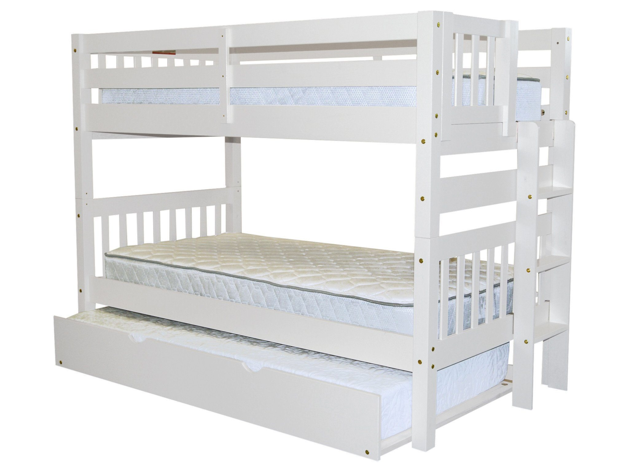 Bedz King Bunk Beds Twin over Twin Mission Style with End Ladder and a Twin Trundle, White by