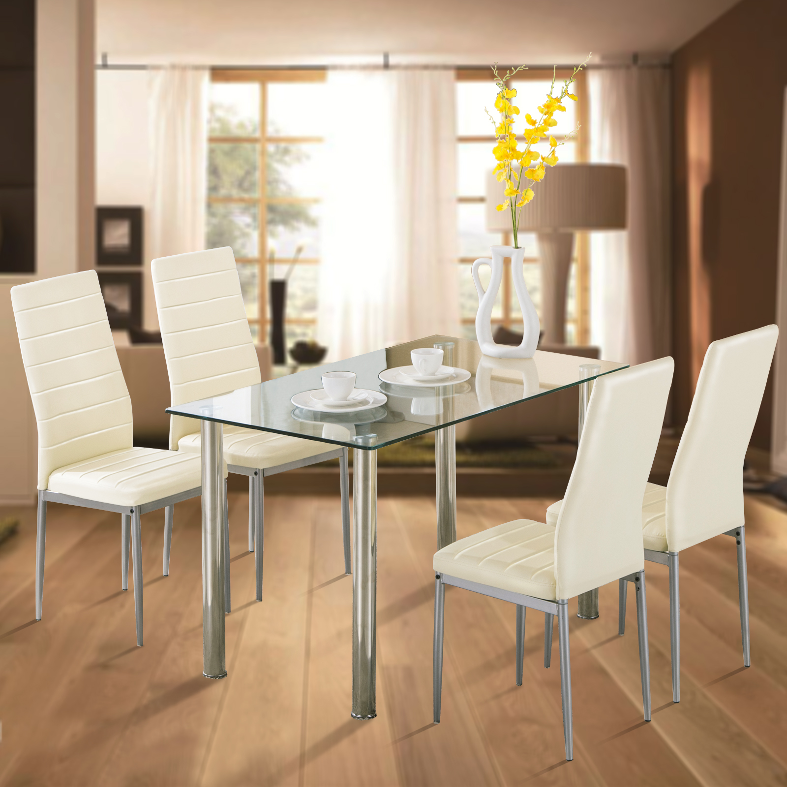 Uenjoy 5pcs Glass Dining Table With 4 Chairs Set Kitchen Furniture