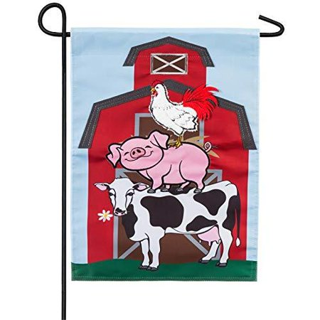 Double Sided Appliqued Garden Flag (Stacked Farm Animals Garden Flag 2 Sided Applique Cow Pig Rooster)