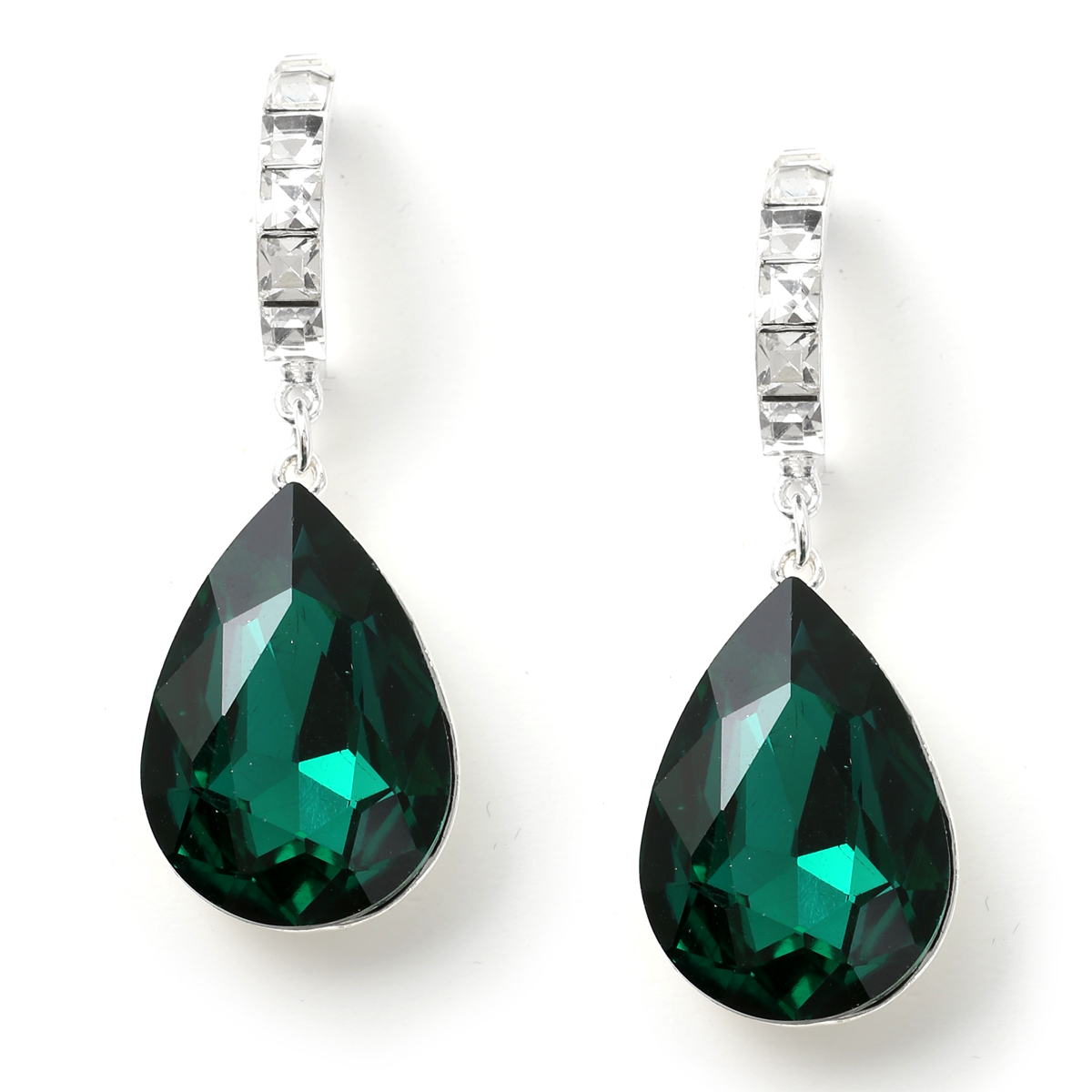 Silver Crystal Square Stone in Semi Hoop with Dangle Large Teardrop Emerald Green Stone Earrings