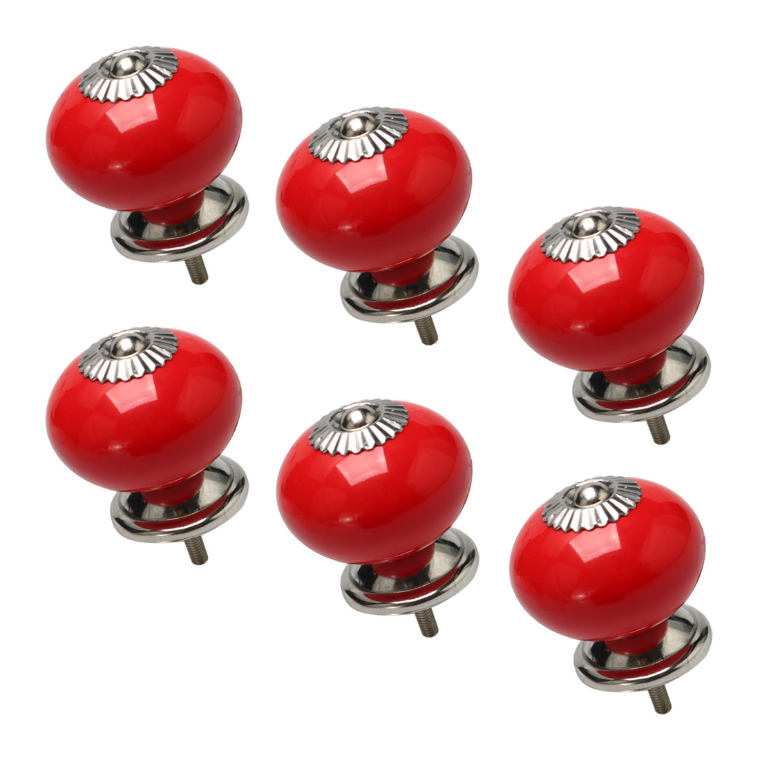 Ceramic Vintage Knob Drawer Round Shaped Pull Handle Wardrobe Dresser 6pcs Red - image 7 de 7