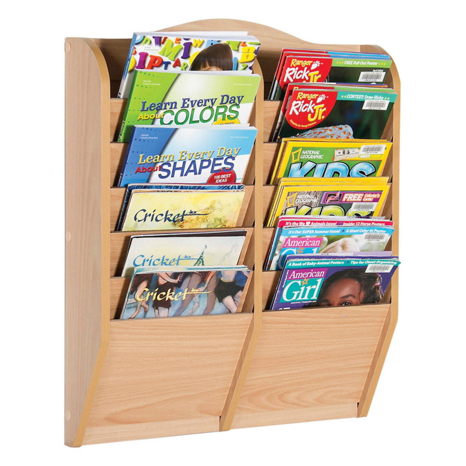 Guidecraft 12-Section Magazine Rack, Natural
