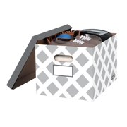Bankers Box 3-Count Decorative, Letter/Legal File Box, Grey, Diamond Design with Grey Lid