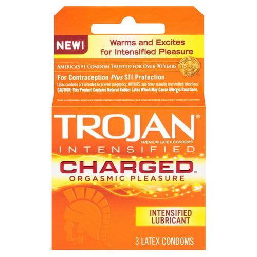 Trojan Charged Orgasmic Pleasure Lubricated Latex Condoms - 3 ct