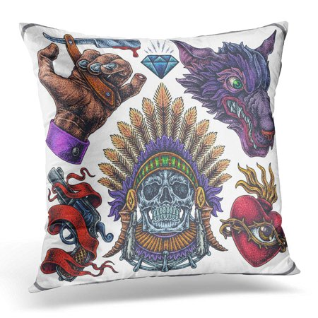 ECCOT Red Skull Hand Drawn of Old School Yakuza Tattoos Pillowcase Pillow Cover Cushion Case