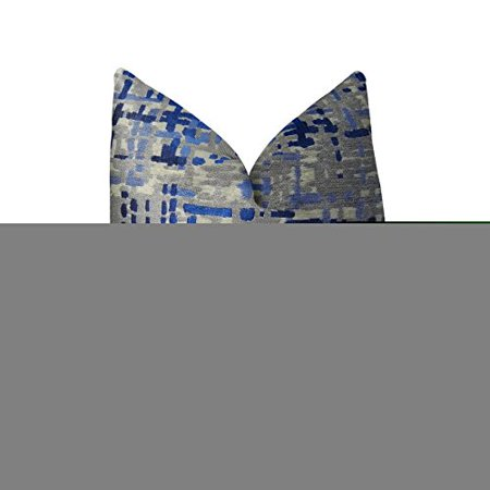 """Plutus Abstract Plaid Handmade Throw Pillow, (Double sided 24"""" x 24"""") - image 1 of 2"""