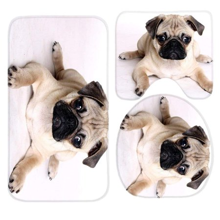 EREHome Pug Dogs 3 Piece Bathroom Rugs Set Bath Rug Contour Mat and Toilet Lid Cover - image 1 de 2