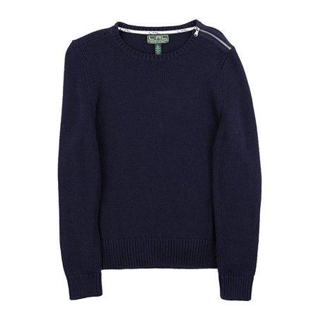 RALPH LAUREN Womens Navy Zippered Long Sleeve Crew Neck Tunic Sweater  Size: