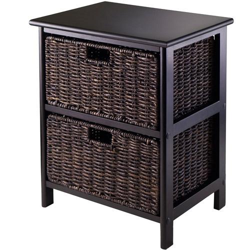 Omaha Storage Rack with 2 Foldable Baskets, Dark Espresso/Chocolate