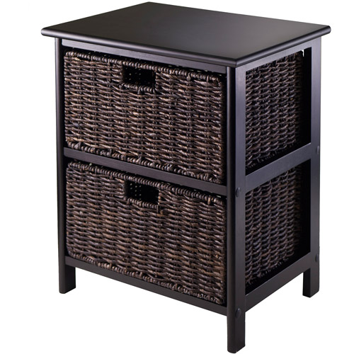 Omaha Storage Rack with 2 Foldable Baskets, Dark Espresso/Chocolate