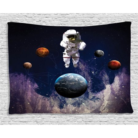 Outer Space Decor Tapestry, Astronaut in Outer Space with Planets Globe Satellite Energy Eternity Theme , Wall Hanging for Bedroom Living Room Dorm Decor, 60W X 40L Inches, Multi, by Ambesonne - Outer Space Themes