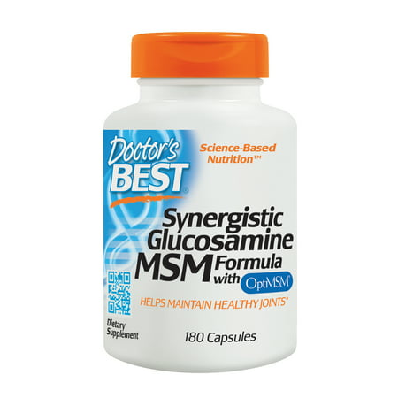 Doctor's Best Synergistic Glucosamine MSM with OptiMSM, Non-GMO, Gluten Free, Soy Free, Joint Support, 180