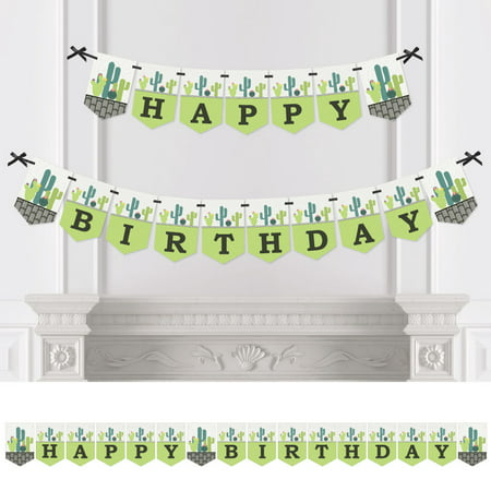 prickly cactus party - fiesta birthday party bunting banner - birthday party decorations - happy birthday - Fiesta Decoration Ideas