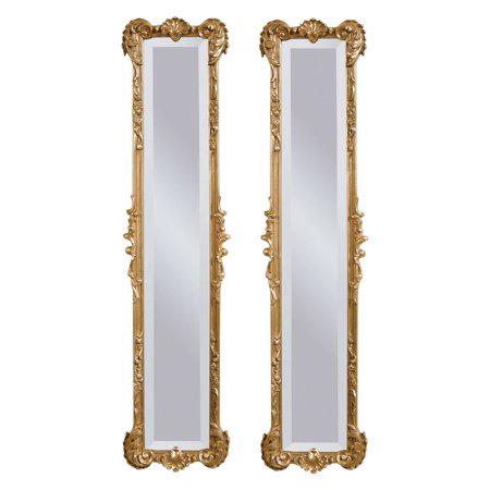 Set of 2 Antique Gold Leaf Finish Mirrors - 12W x 50H -