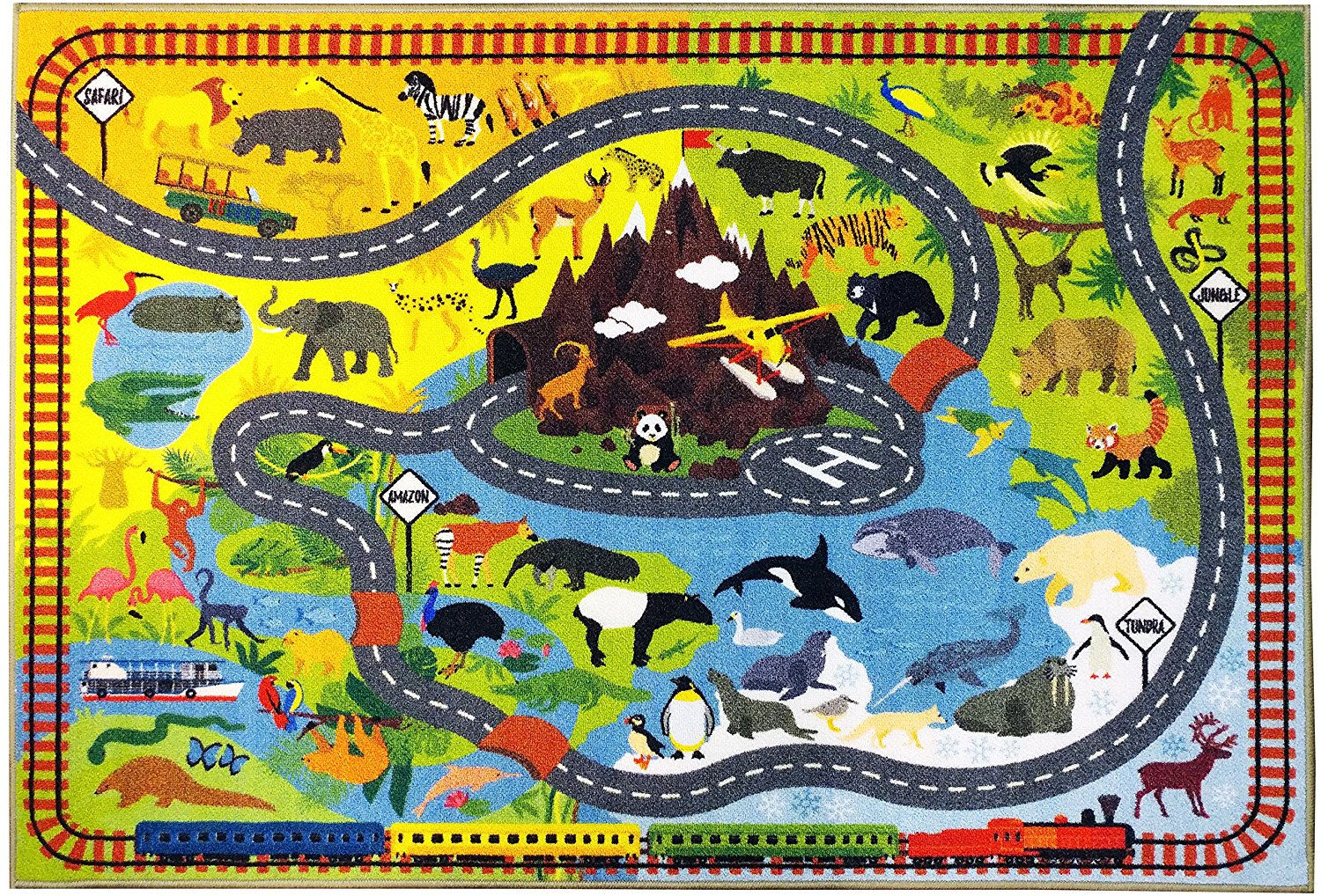 KC CUBS Playtime Collection Animal Safari Road Map Educational Learning Area Rug Carpet for Kids and Children... by KC Cubs
