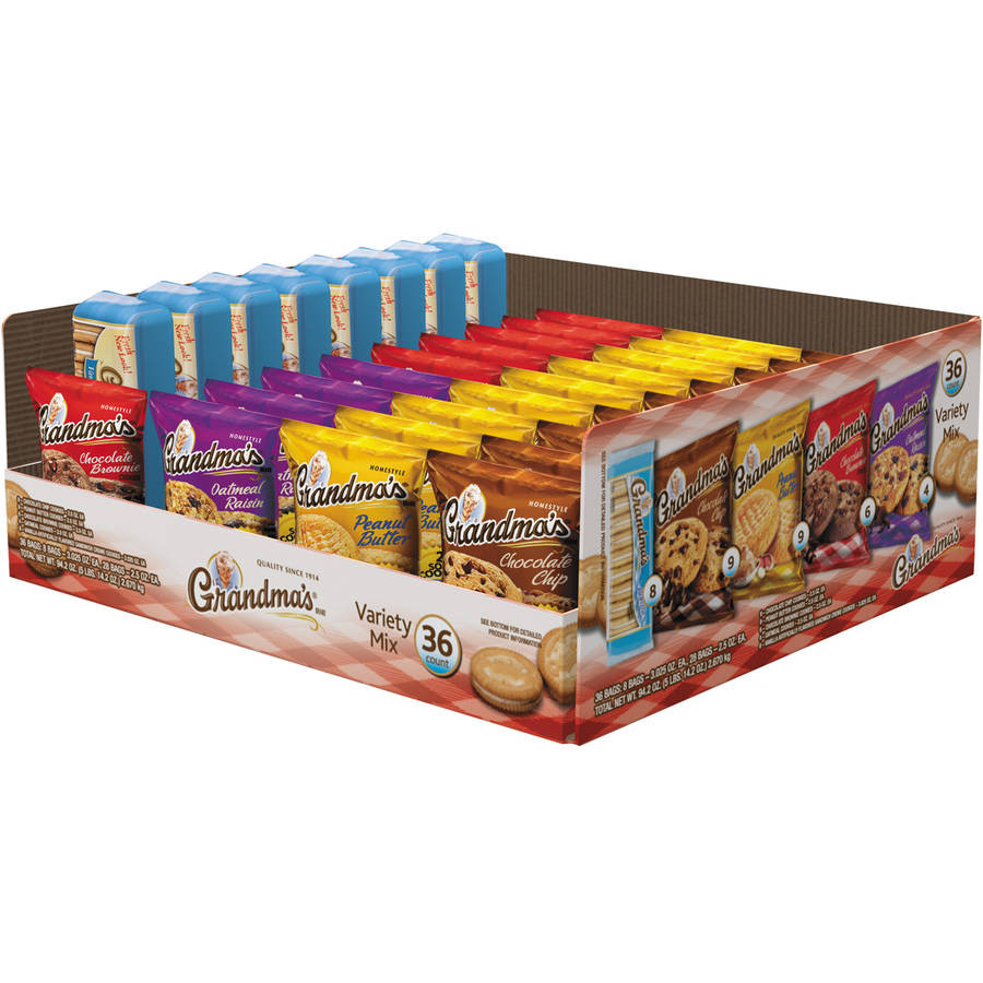 Grandma's Cookies Variety Tray, 2.5 oz, 36 count