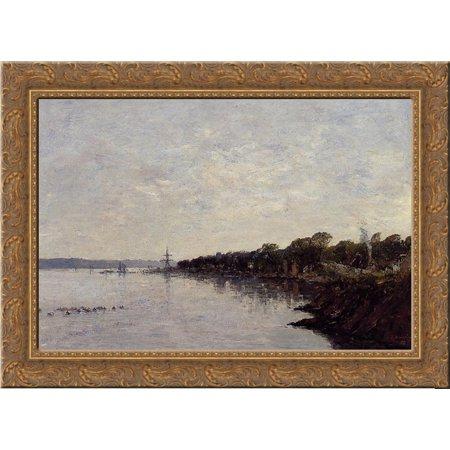 Brest  The Banks Of The Harbor 24X18 Gold Ornate Wood Framed Canvas Art By Eugene Boudin