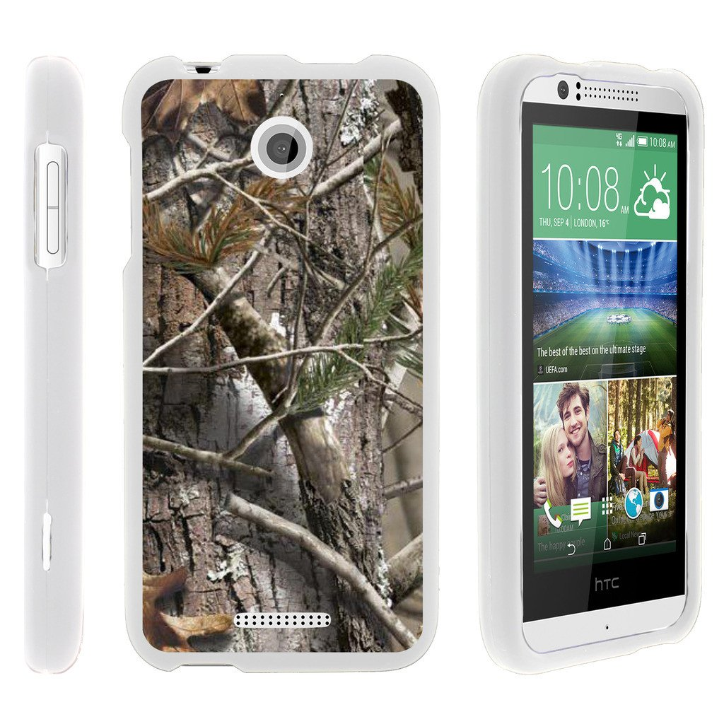 HTC Desire 510, [SNAP SHELL][White] Hard White Plastic Case with Non Slip Matte Coating with Custom Designs - Tree Bark Hunter Camouflage