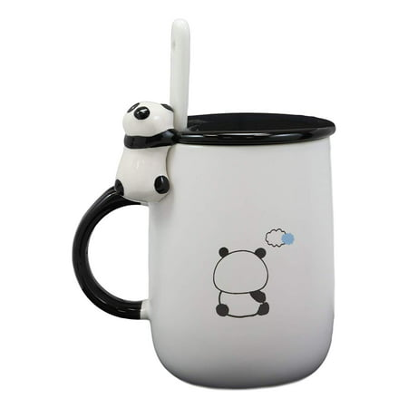 Ebros Adorable Chubby Baby Giant Panda Bear Ceramic Coffee Tea Mug Drink Cup With Spoon And Lid 14oz Animal Pet Pal Bamboo Loving China Pandas Decor Collectible Kitchen Accessory For Kids and Adults - Fine China Coffee Pot Lid