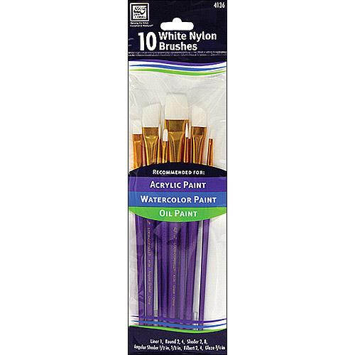 Loew-Cornell White Nylon Detail Brush Set, 10-Pack