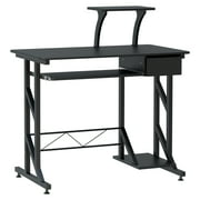 """HOMCOM Computer Desk Compact Writing Workstation Space Saving for Home Office Wood with Keyboard Tray, Black (35.4""""Lx19.7""""Wx37.4""""H )"""