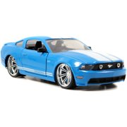 2010 Ford Mustang, blue with white stripes