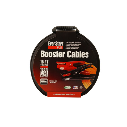 Everstart 08568-77-03 6-Gauge Top Post and Side Terminal Automotive Booster Cables, 16-Feet