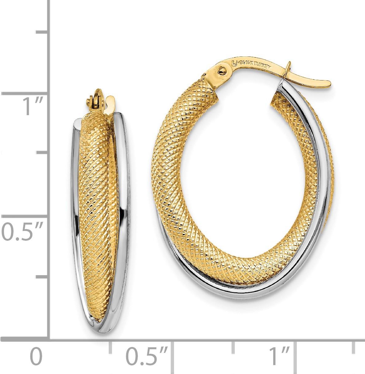 Leslie's 14K Two-tone Polished & Textured Hoop Earrings - image 2 de 3