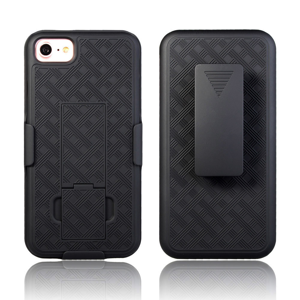 IPhone 7 Slim Hard Shell Shield Layer Holster Case with Kickstand