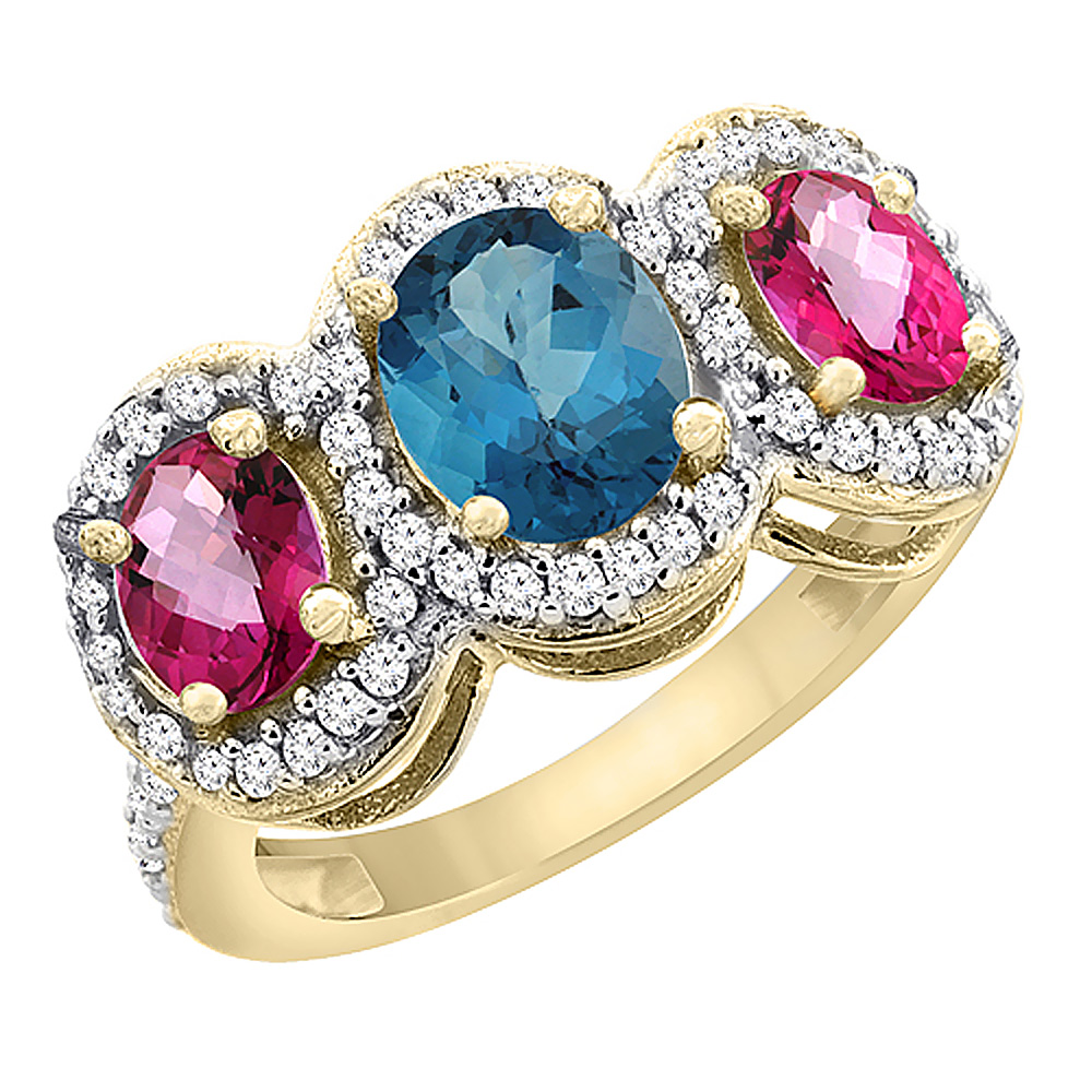 10K Yellow Gold Natural London Blue Topaz & Pink Topaz 3-Stone Ring Oval Diamond Accent, size 5 by Gabriella Gold