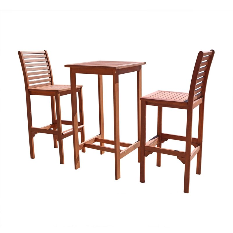 Pemberly Row 3 Piece Wood Patio Dining Room Set by Pemberly Row