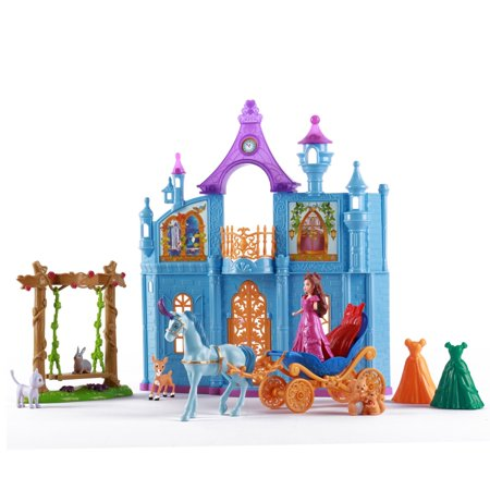 Vokodo Princess Castle Deluxe Playset With Doll Animal Friends Enchanted Swing Magical Horse And Carriage 3 Wardrobe Options Pretend Play Toys Perfect Early Learning Gift For Preschool Children Girls