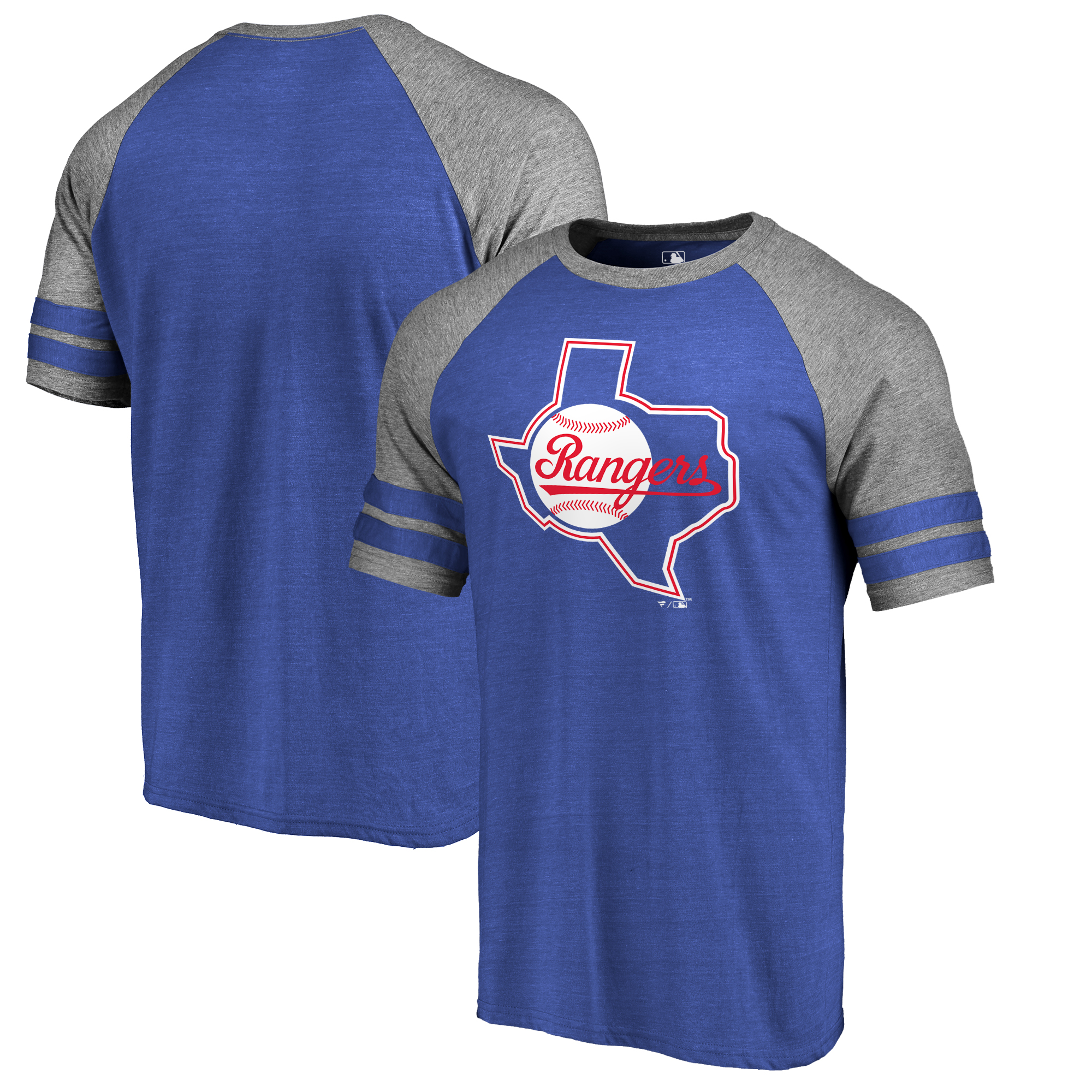Texas Rangers Fanatics Branded Huntington Cooperstown Collection Tri-Blend T-Shirt - Royal