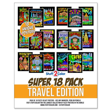 Fuzzy Poster (Super Pack of 18 Fuzzy Velvet Coloring Posters (Travel Edition) -)