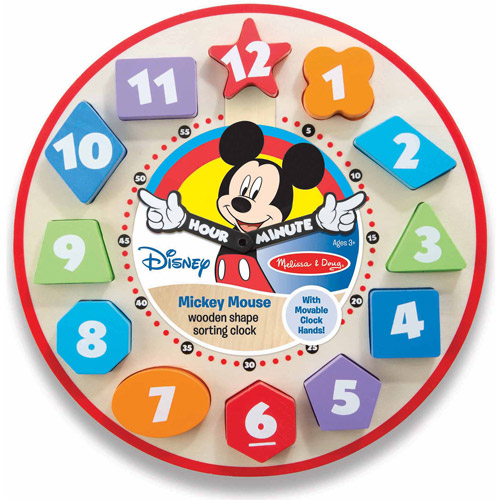 Disney Mickey Mouse Wooden Shape Sorting Clock