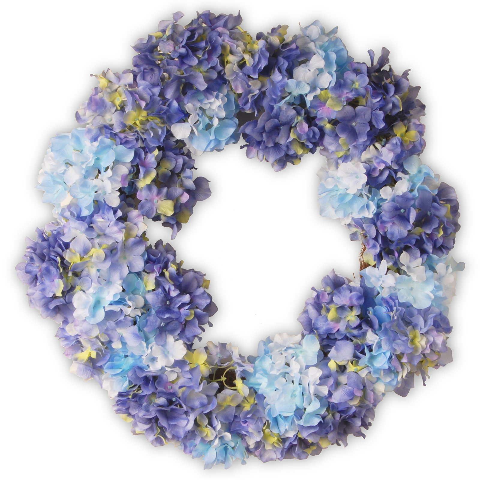 "National Tree Artificial 25"" Garden Accents Blue Hydrangea Wreath"