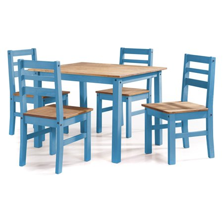 Maiden 5-Piece Solid Wood Dining Set with 1 Table and 4 Chairs in Blue Wash ()