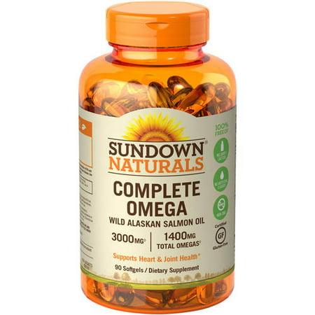 Sundown Naturals Complete Omega Wild Alaskan Salmon Oil Softgels, 3000 Mg, 90 Ct