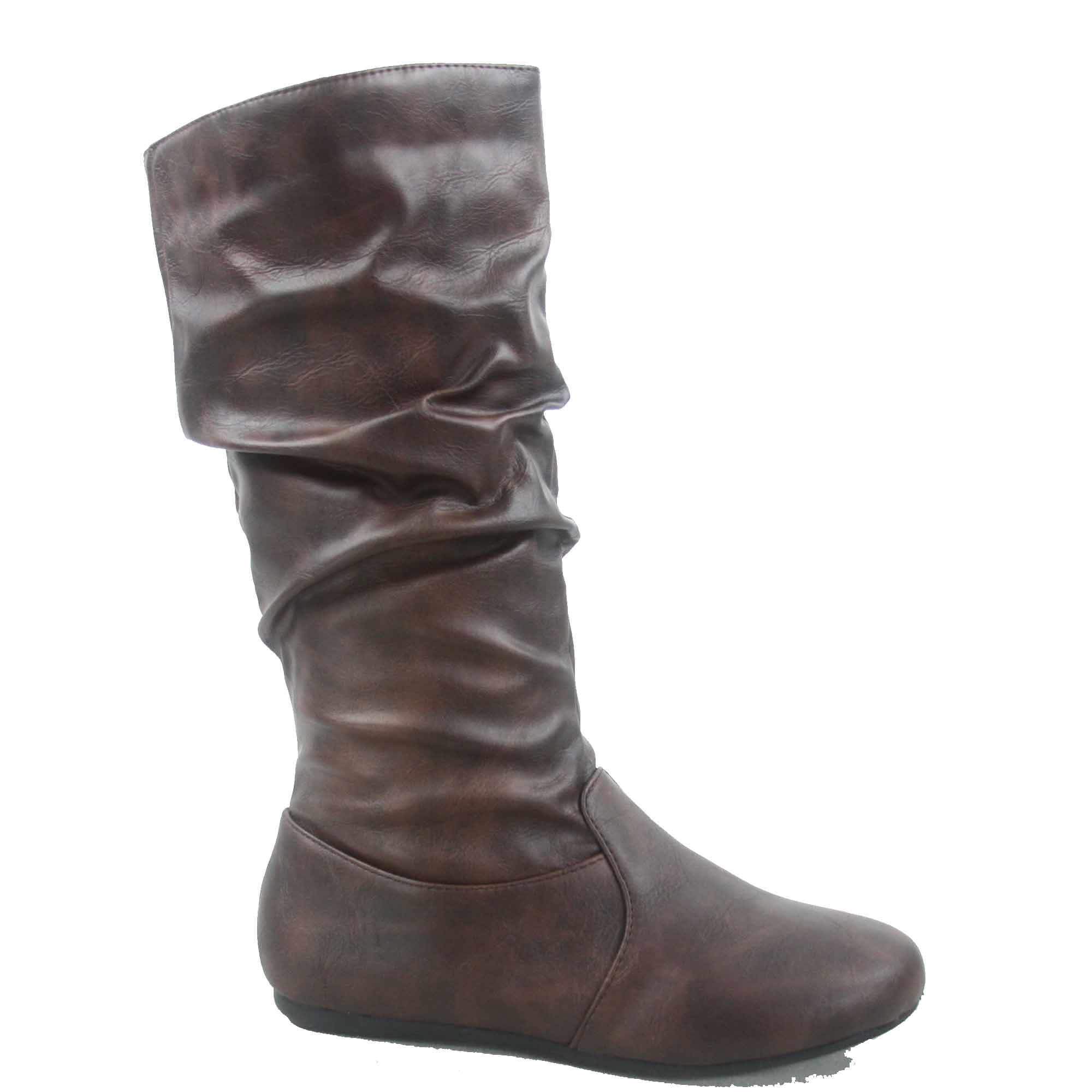Selina-24 Women's Faux Leather Causal Zipper Slouch Flat Toe Heel Mid Calf Round Toe Flat Boots Shoes 69630a