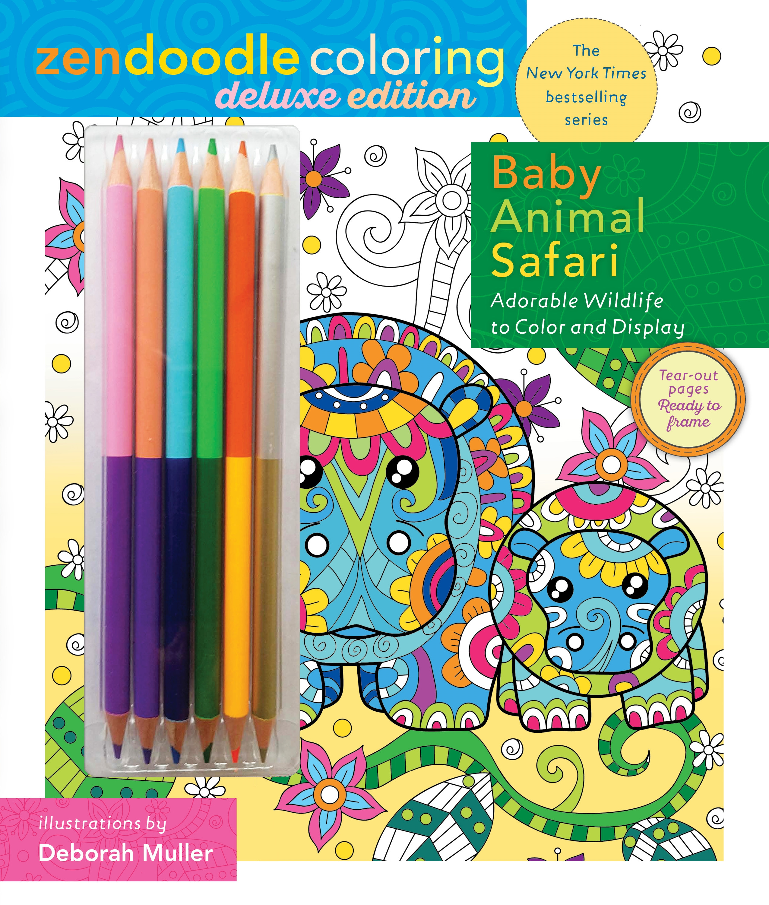 Zendoodle Coloring Baby Animal Safari Deluxe Edition With Pencils
