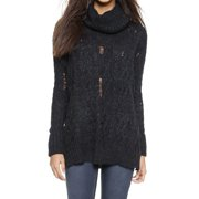 Free People NEW Black Women Size Small S Cable Knit Cowl Neck Sweater
