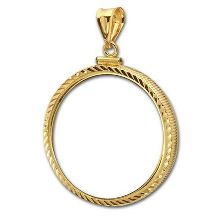 14K Gold Screw-Top Diamond-Cut Coin Bezel - 32.7 mm
