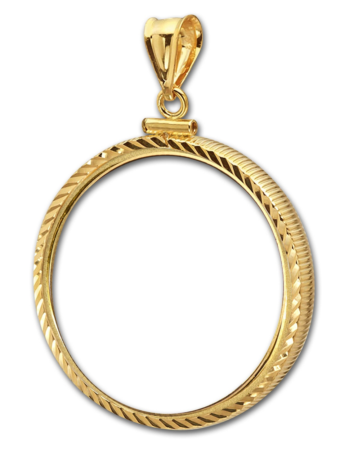 14K Gold Screw-Top Diamond-Cut Coin Bezel - 32.7 mm